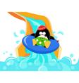 Water slide penguin vector