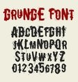 Grunge style font set with ink stain effect vector
