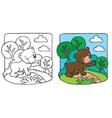 Little teddy bear coloring book vector