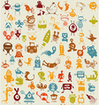 Doodle monsters background vector