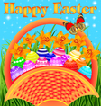 Postcard with easter eggs vector