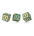 Letter q wooden alphabet blocks vector
