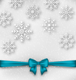 Christmas wrapping with bow ribbon and snowflakes vector