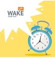 Blue wakeup clock card flat design vector