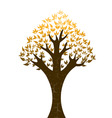 Abstract tree with golden leaves on white backgrou vector