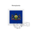 State of pennsylvania flag postage stamp vector