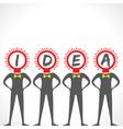 Creative idea text with bulb face man vector