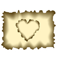 Burnt heart shaped paper vector