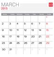 2015 march calendar page vector