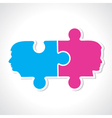 Male and female face with puzzle pieces vector