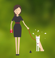 Young woman walking a dog and cleans her flat vector