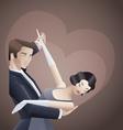 Dancing couple art deco geometric style poster vector