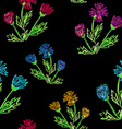 Wild flowers on a black background vector