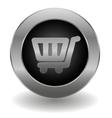 Metallic shopping cart button vector
