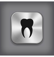 Tooth icon - metal app button vector