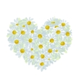 Summer bouquet heart shape made from daisy sketch vector