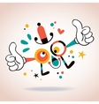 Abstract cartoon character mascot thumbs up vector