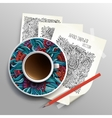 Coffee cup on sketches concept idea vector