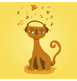 Funny cat listens to music vector