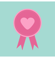 Badge with heart and ribbons blue background award vector