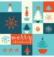 Merry christmas tree post card vector