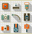 Icons retro camera in flat style vector