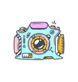 Linear of blue photo camera on white backgro vector