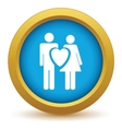 Gold love icon vector