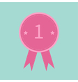 Badge with number one and ribbons award icon vector