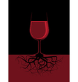 A glass of a red liquor with roots vector