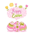 Happy easter background with cartoon cute eggs and vector