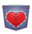 Rear pocket with sewn lace heart vector