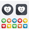 Smile heart face icon smiley symbol vector