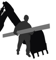 Worker carries material by machine vector