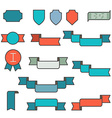 Set of ribbons in flat line style vector