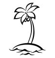 Tropical island with palm tree silhouettes vector