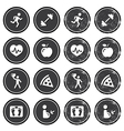 Health and fitness icons retro labels set vector