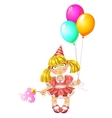 Little fairy in red dress with baloons vector