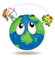 Girl and earth vector