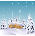 Village in snow wood vector