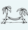 Romantic hammock between palm trees vector