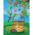 Easter basket on lawn3 vector