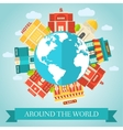 Flat colorful sity around of the world vector