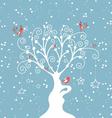 Decorative winter tree vector