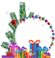Bright gifts and christmas tree vector