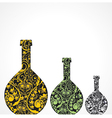 Creative floral wine bottles vector