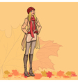 Girl and autumn leaves vector