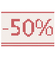 Knitted 50percent sale design vector