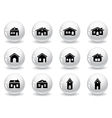 Web buttons house and buildings icons vector