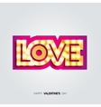 Gold inscription love with glowing lamps vector